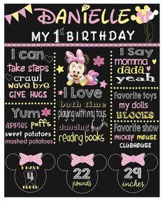 Archivo de Baby Minnie Mouse cumpleaños primera pizarra cartel