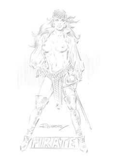 Romero, Enrique Badia - Original pencil drawing - Erotic Elektra - W.B.