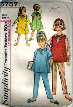 Vintage Sewing Pattern Childs Nightgown Pajamas Sz 4 #5757 - $20.00 : Vintage Sewing Patterns