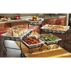 New 3 Tier Buffet Server 5 Stoneware Serving Dishes Wrought Iron Stand Catering Parrilla Exterior, Porta Cupcake, Wrought Iron Decor, Buffet Server, Party Snacks, Serving Platters, Dinnerware, Kitchen Dining, Sam's Club