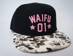 Waifu 01 Black & White Floral Snapback