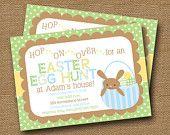 Easter Egg Hunt Invitation for Boys -DIY PRINTABLE- Bunny, Eggs in Basket