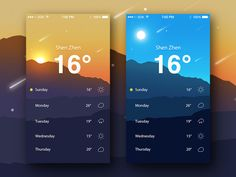 "via Muzli design inspiration. ""Weather app inspiration"" is published by Muzli in Muzli - Design Inspiration. Best App Design, App Ui Design, User Interface Design, Web Design, Flat Design, Mobile App Design, Mobile App Ui, Application Mobile, Mobile Application Development"
