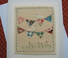 Handstitched card designed/made by Helen Drewett BUNTING WITH BIRDS more in shop | eBay Atc Cards, Card Tags, Paper Cards, Freehand Machine Embroidery, Free Motion Embroidery, Fabric Cards, Fabric Postcards, Hand Made Greeting Cards, Making Greeting Cards