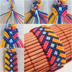 Wonderful DIY chevron bracelet with square knot # bracelet # chevron . - Wonderful DIY chevron bracelet with square knot # bracelet # chevron … - Chevron Armband, Bracelet Chevron, Macrame Bracelet Diy, Bracelet Crafts, Macrame Knots, Knotted Bracelet, Diy Macrame, Heart Bracelet, Friendship Bracelet Patterns