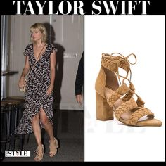 Taylor Swift in maxi dress and beige suede sandals