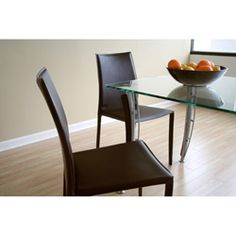 @Overstock - Great for your dining room table, these brown leather dining chairs are fashionable and stylish. With an arched back for added comfort and a steel construction for durability, these brown leather chairs will make a great addition to your dining room.http://www.overstock.com/Home-Garden/Amsterdam-Brown-Leather-Dining-Chairs-Set-of-2/2087139/product.html?CID=214117 $234.39