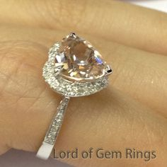 8mm Heart Shaped Cut Morganite SI Diamonds Solid 14K White Gold Engagement Ring #LOGR #WithDiamonds