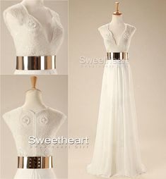 "24inshop: "" White Chiffon Long Prom Dresses, Evening Dresses """
