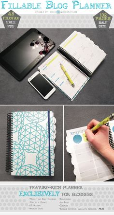 Free Printable Blogger Planner   Half-Size (Filofax A5). www.blackandwhiteobsession.com    This is such a good idea!!
