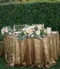 Photo: Acres of Hope Photography; Gold wedding reception idea;