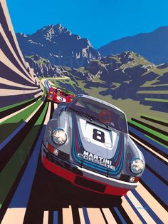 Martini Porsche - Tim Layzell's Graphic Style Captures Sheer Speed - @claire_oneill