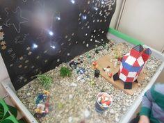 ontdekhoek. Zandtafel met kiezelsteentjes en glazen peddels. Achtergrond sterren om getrokken en sterretjes geplakt, gaatjes erin met kerstboomverlichting erachter. Daarna kan er met knex, lokon en lego raketten, en vliegende schotels worden gemaakt. Lego, Om, Planets, Legos