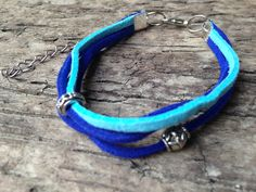 Baby Blue and Royal Blue Suede Leather by EffyBuu on Etsy #leather #bracelet #handmade  #suede