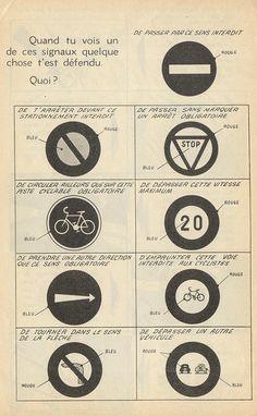 [ Piéton, cycliste , scolaire(1958)dessins de Jan Mich ]      #vintage #infographics   Agence eureka