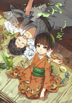 Mushishi | Artland | Yuki Urushibara / 「蟲師-緑の座」/ Ioroi Renzu and Ioroi Shinra / 「銓(chaun)」のイラスト [pixiv]