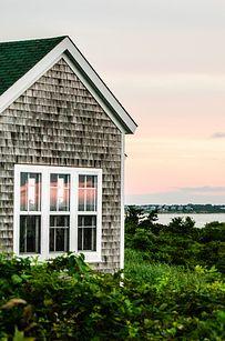 Block Island, Rhode Island- I want a saltbox house...love the grey weathered shingles...My retirement home.