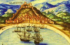 Vista d'Alacant del segle XVII, encara sense l'espigó del port a la platja del Postiguet, i sense el Raval Roig dels Socors, ...