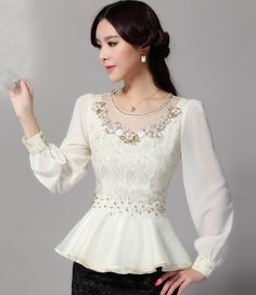 long puff sleeve flower gauze lace shirt Chiffon peplum top women embroidery lace ruffles
