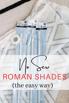 DIY No Sew Roman Shades. How to make no sew faux roman shades using just tension rods. Such an easy DIY project to update your windows on a budget #DIYprojects #DIYhomedecor #homedecor Cheap Curtain Rods, Cheap Curtains, Diy Curtains, Sewing Curtains, Cheap Roman Shades, Faux Roman Shades, Diy Blinds, Diy Roman Blinds, Diy Window Shades
