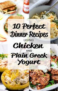 10 perfect dinner recipes using chicken and plain greek yogurt - my favorite dinner ingredients in Yogurt Curry Chicken, Greek Yogurt Chicken, Plain Greek Yogurt, Greek Yoghurt Recipes, Plain Yogurt Recipes, Recipe Using Chicken, Easy Chicken Recipes, Recipe Using Plain Yogurt, Greek