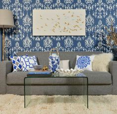 A DIY stenciled accent wall using the Ikat Samarkand Stencil. http://www.cuttingedgestencils.com/ikat-stencil-uzbek.html