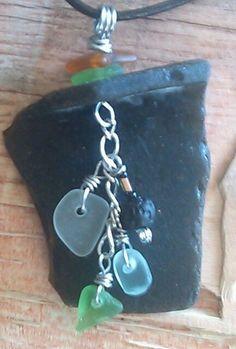 "Large Sea Glass Jewelry Artisan Necklace 24"" Leather Hawaii Beach Rustic Men #Handmade #Pendant"
