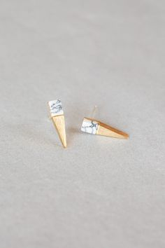 Gold & White Marble Point Earrings $20.00