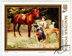 Hungary.  PAINTING OF A BOY WITH HORSE & GREYHOUNDS by JANOS VASZARY.  Scott 2592 A643, Issued 1979 Aug 11, Photo, Perf. 12 1/2, 40. /ldb.