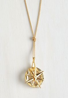Guide and Go Seek Necklace. Direct your attention to this gold compass necklace and lead your look to fabulous new destinations! #gold #modcloth
