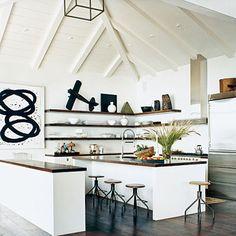 Coastal Living Kitchen: love the stools