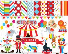 Cirque clipart - clipart cirque, lion, éléphants, clowns, lion tamer, seal, boules, documents numériques de cirque pour un usage personnel et commercial