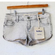 """Vintage Mid-rise Denim Gray Shorts *NWT*  - Vintage - Mid-rise - Stretch  *MEASUREMENTS: - Size: 1, 24 USA, 38 EUR 34 - Outseam: 8"""" Approximately   *Material: - 98% Cotton, 2% Spandex Shorts"""