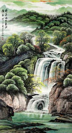 chinese waterfalls   Chinese Waterfall Painting 1137002, 97cm x 180cm(38〃 x 70〃)
