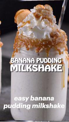 Banana Pudding Milkshake, Homemade Banana Pudding, Banana Pudding Ice Cream, Nutella Smoothie, Southern Banana Pudding, Vanilla Milkshake, Homemade Ice Cream, Fun Baking Recipes, Snack Recipes
