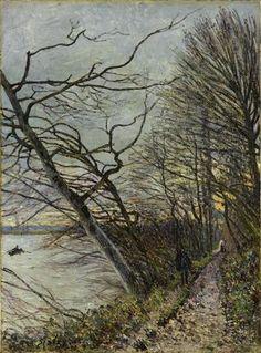 wetreesinart:    AlfredSisley (Fr. 1839-1899),Le Bois de Roches, Veneux-Nadon,huile sur toile, 73 x 54cm,Paris, musée du Louvre