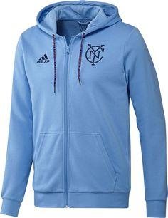 4c6410fbade adidas Men s New York City FC Travel Blue Full-Zip Hoodie