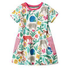52e78867b3f Little Girls Cartoon Print Cotton Summer Tunic Short Sleeve Dress with  Striped Pocket (5T,