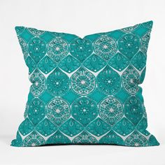 Sharon Turner Saffreya Turquoise Throw Pillow | DENY Designs Home Accessories