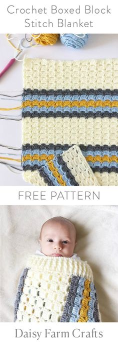 FREE PATTERN - Crochet Boxed Block Stitch Blanket