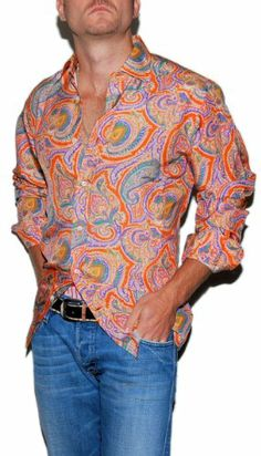 Polo Ralph Lauren Purple Label Mens Paisley Silk Shirt Orange Small
