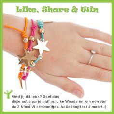 Win 'het Ninni Vi armbandje'. Wat moet je doen? Like ilikewoods.nl op facebook, like deze onderstaande winactie en deel hem met je vrienden op Facebook. Onder de winnaars verloren wij 3 bandjes.