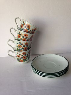country flowers tea cup with saucer set, vintage ironstone flat cups, vintage housewares, couple hostess gift idea, sold seperately - pinned by pin4etsy.com