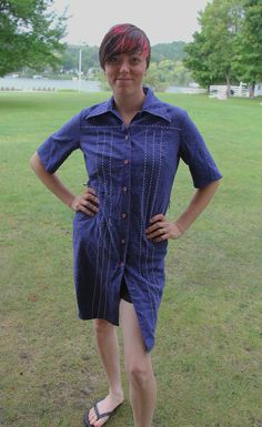 Denim Dress SM Women's ButtonUp ShortSleeve by FoxandFawnDesign