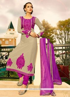 Competent Beige And Violet Embroidery Work Churidar Suit