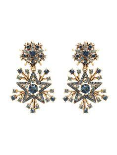 Oscar de la Renta. Navy Swarovski Crystal Pavé Star Drop Earrings.