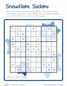 Winter Fifth Grade Puzzles & Sudoku Worksheets: Snowflake Sudoku - Challenging Sudoku Puzzles, Logic Puzzles, Number Puzzles, Math Worksheets, Math Activities, Seasons Worksheets, Math Early Finishers, Montessori, Teaching Math