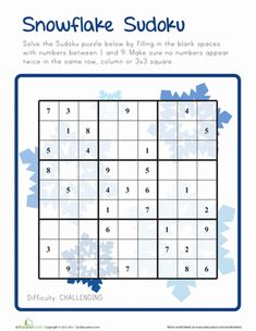 Winter Fifth Grade Puzzles & Sudoku Worksheets: Snowflake Sudoku - Challenging