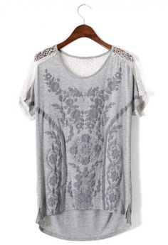 Daisy Embossed Lace Back T-shirt in Grey