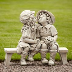 Boy & Girl Stone Figurine Ornament Large Garden Statue. Buy now at…